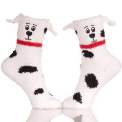 Fuzzy Sock With Dog Ears Stripe Fuzzy Socks