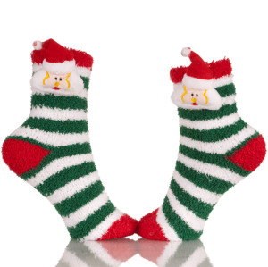 Red Knitted Plush Christmas Stocking Socks