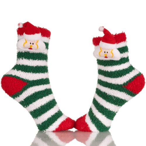 Red Knitted Plush Christmas Stocking Socks
