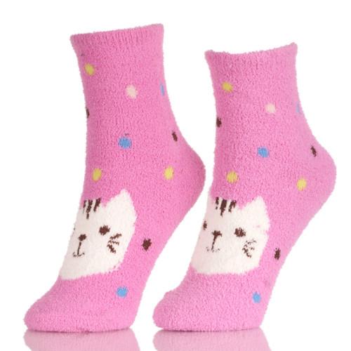 Pink Cat Paw Girls Floor Slipper Socks