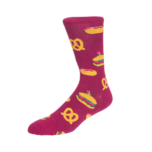 Pop Street Style Blue Burger Socks HotDog Pattern Cotton School Socks Man