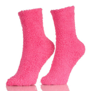 Womens Warm Fuzzy Slipper Casual Plain Sleep Socks Adult