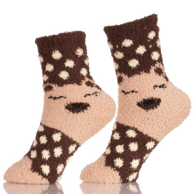 Girls Anti-Slip Fluffy Fuzzy Slipper Socks Striped Warm Winter Crew Socks