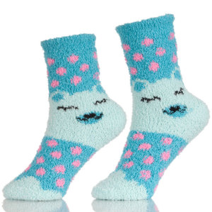Girls Anti-Slip Fluffy Fuzzy Slipper Socks Striped Warm Winter Crew Socks