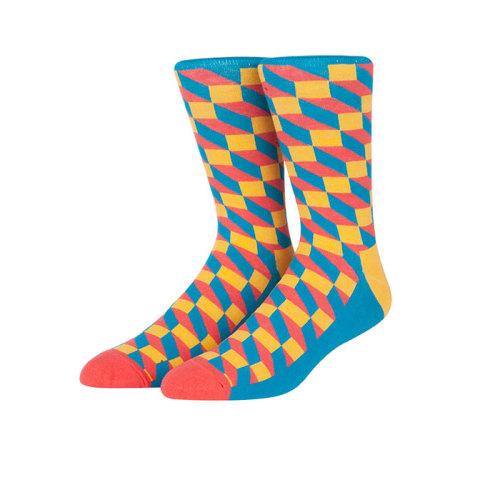 Hot Selling Fancy Crazy Color Knitting Novelty Crew Socks For Men