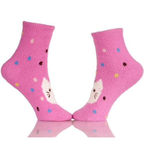 Toe Women's Cozy Microfiber Anti-Skid Soft Fuzzy Crew Socks