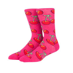 China Fashion  Best Selling Fruit Print Long Cherry Pattern Cute Acrylic Socks