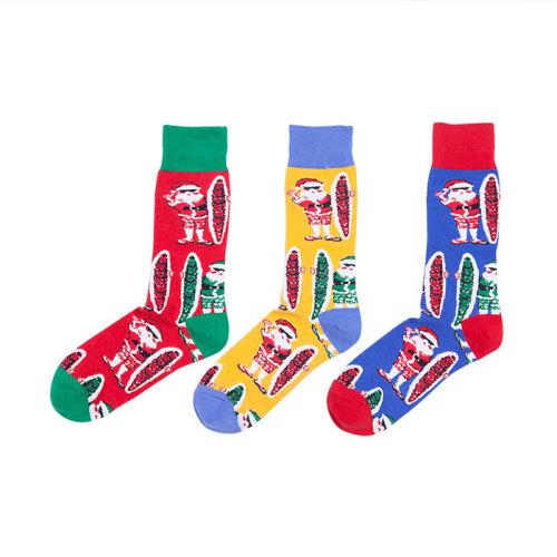 Wholesale Custom Winter Red And Green Santa Claus Pattern Printed Christmas Socks