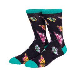 Color Butterflies Socks Anti-Microbial Sock Colorful Crazy Socks Men