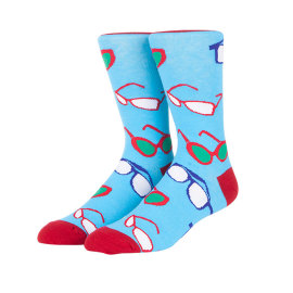 Blue Yellow Sunglasses Pattern Digital Print Socks Cotton Men Crew Socks