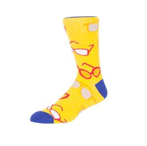 Blue Yellow Sunglasses Pattern Digital Print Socks Cotton Men Crew Socks