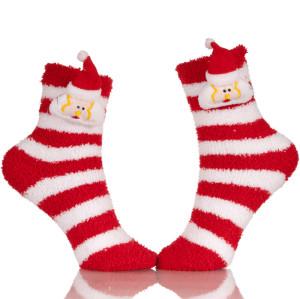 Little Girls Microfiber Christmas Fuzzy Printed Cozy Sleeping Tube Socks