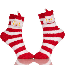 Little Girls Microfiber Christmas Fuzzy Printed Cozy Sleeping Tube Socks