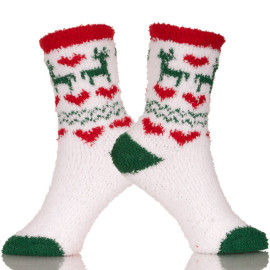 Soft Fuzzy Christmas Socks Warm Microfiber Slippers With Non Skid Sole