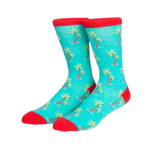 Custom Socks Logo Coconut Trees Pattern Socks  Funny Summer Fruits Socks