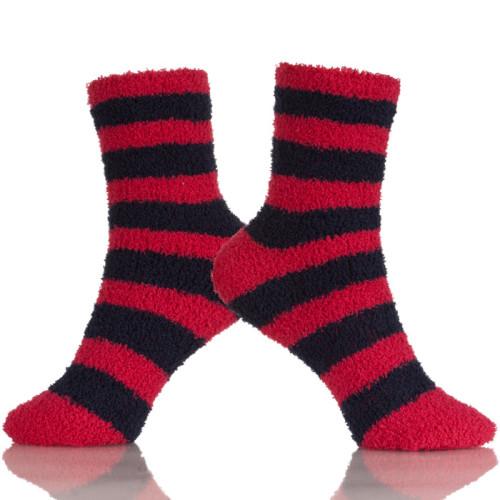 Women's Super Soft Warm Microfiber Blur Comfort Stripe Series Crew Socks