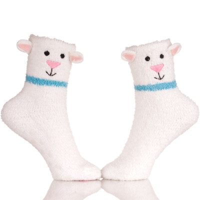 Womens Warm Fuzzy Slipper Casual Socks Embroidery Sheep Logo
