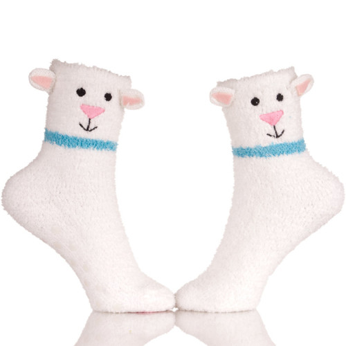 Womens Warm Fuzzy Slipper Casual Socks Embroidery Sheep Logo