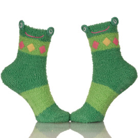 Women Super Soft Plain Cozy Animal Fuzzy Cute Green Frog Winter Socks