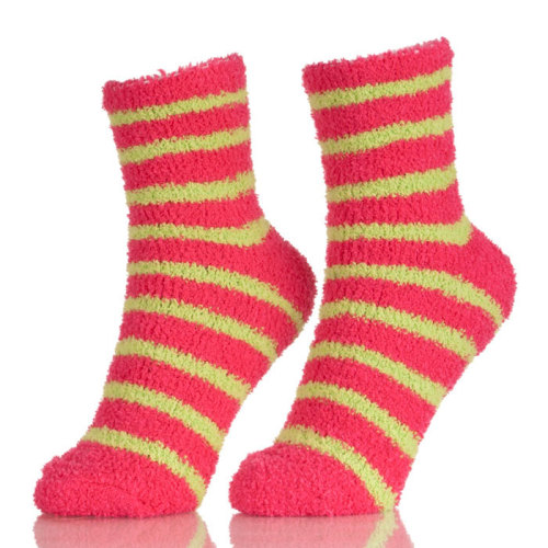 Popular Red And Blue Stripes Home Warm Fuzzy Cute Socks Girls