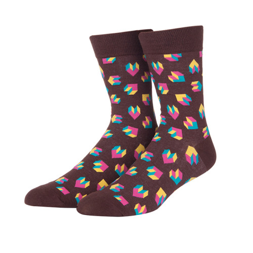 Wholesale Fancy Multi Heart Pattern Design Crew Socks From China Factory