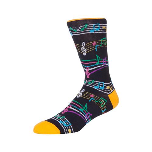 Fashion Color Custom Note Pattern Sports Socks,Compression Music Socks Men