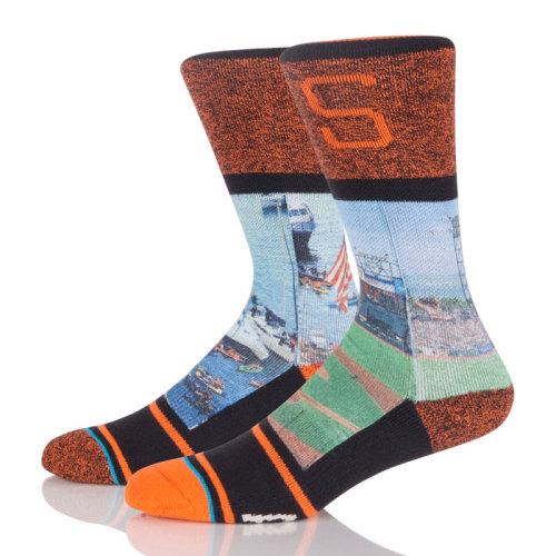 Wholesale Custom Running Sport Basketball Cotton Sublimation Socks For Men