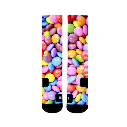 Custom 3D latest Technology Printing Colorful Candy Pattern Sublimation Socks