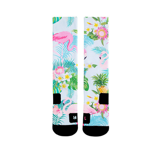 Wholesale Custom Print Bird Pattern Polyester Sublimation Blank Flamingo Socks