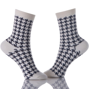 Black And White Dress Cotton Houndstooth Socks Mens