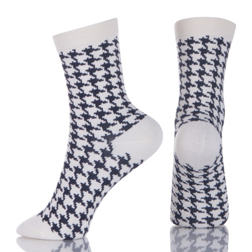 Black And White Dress Cotton Houndstooth Socks Mens