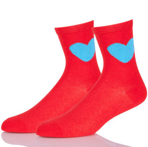 Wholesale Custom Ladies Colored Crew Socks Womens Red Athletic Socks