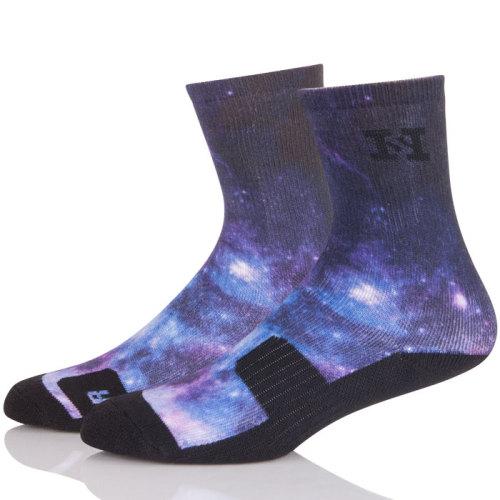 Print Men's For Running Crew Socks ,Low Cut Compression Socks