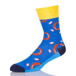 Blue Cartoon Socks For Women Wholesale Custom Print Socks Crew Sport Socks