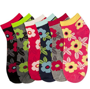 Custom Logo Flowers Pattern Crew Cotton Socks, Bamboo Fashion Womens Socks