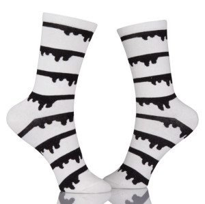 Fashion Cute Soft Novelty Cotton Women Socks Kawaii Funny Black And White Socks