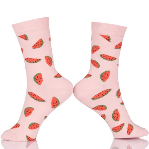 Cartoon Pattern Watermelon Art Socks Fruit Kawaii Short Casual Socks Spring Summer Color