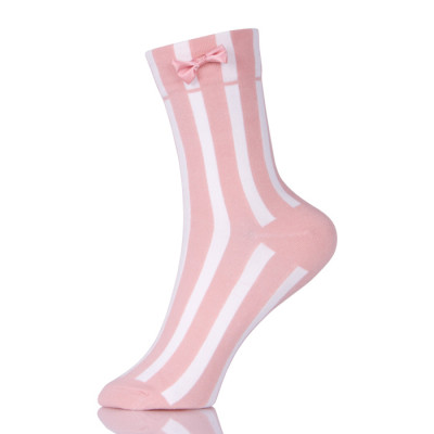 Women Socks Autumn Striped Cotton Solid Color Cute Casual Bow Socks