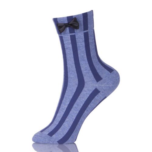 Women Socks Autumn Striped Cotton Solid Color Cute Casual Bow Socks