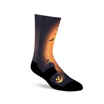 Blank Sublimation Socks  Print Halloween Pumpkin Light Pattern