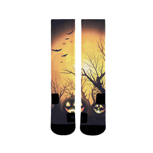 Blank Sublimation Socks  Print Halloween Pumpkin Light Pattern