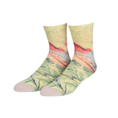 Wholesale OEM Custom Splice Pattern Cotton Fashion Print Colorful Lady Socks