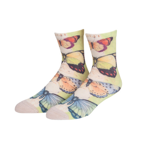 High Quality Stitching Color  Butterfly Custom Cotton Print Business Socks Classic Socks Women