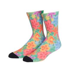 Premium Women Custom Cute Print Colored Flowers Logo Sock,Sublimation Socks