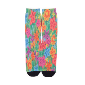 Premium Women Custom Cute Print Colored Flowers Logo Sock,Sublimation Socks