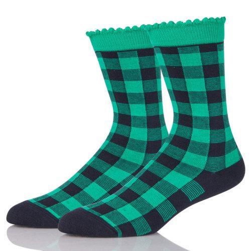 Fashion Style Unisex Street Cotton Socks Fun Plaid Pattern Socks meias