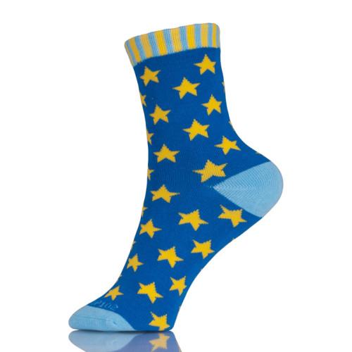 Eco-friendly Fun Crazy Cotton Star Pattern Socks For Women