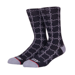 Manufacturer Wholesale Socks With OEM Woven Custom Logo Mens Socks Design Crew Black