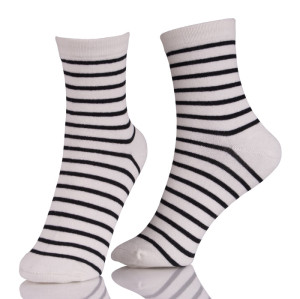 Wholesale Custom Crew Black And White Stripe Dress Socks