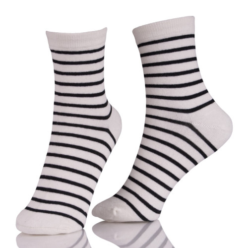 Wholesale Custom Crew Black And White Stripe Dress Socks